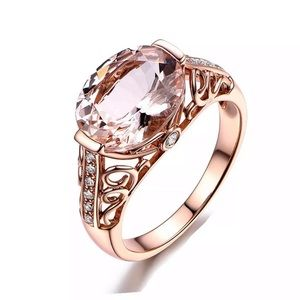 NEW! Rose Gold Ring With Pink Gemstone Size 6-10